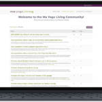 Laptop mockup of Ma Yoga Living Community Forum page