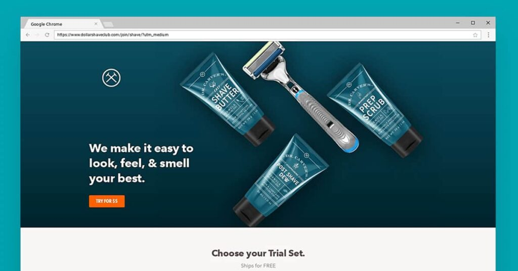Dollar Shave Club Subscription Website Mockup Example