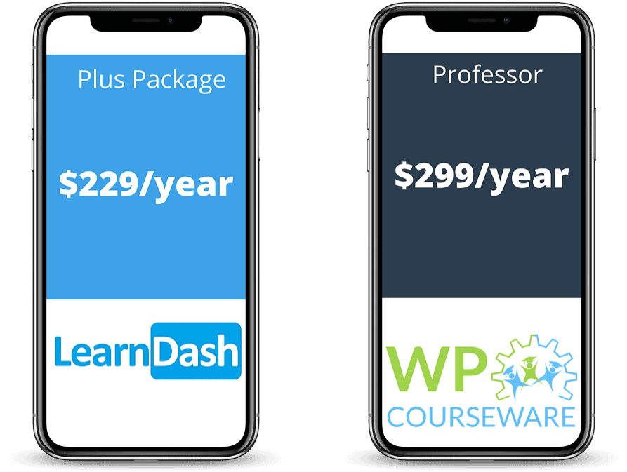 Two iPhones showing LearnDash and WP Courseware