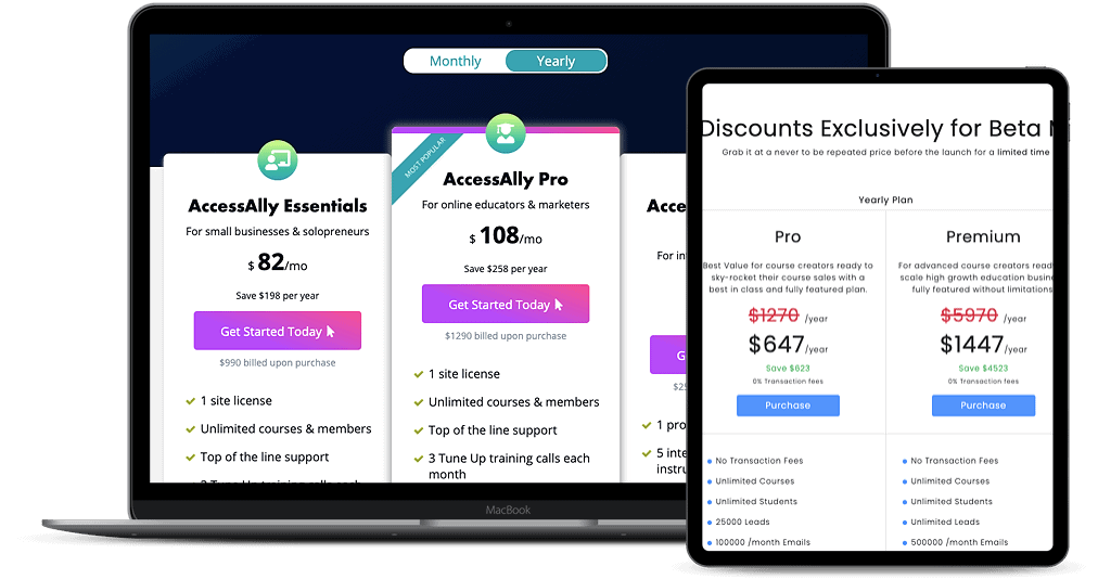 pricing for AccessAlly and New Zenler